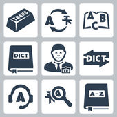Vector translation and dictionary icons set — Stock Vector
