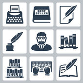 Vector writer icons set — ストックベクタ