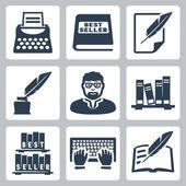 Vector writer icons set — Stock Vector