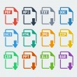 Vector file extensions icons set — Stock Vector