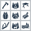 Vector camping icons set: axe, campfire, camping table, backpack, tent, matches, folding knife, deer, camping trailer — Stock Vector #37237487