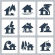 Vector property insurance icons set — Stock Vector