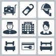 Stock Vector: Vector hotel icons set: luggage cart, 'do not disturb' sign, dish, receptionist, five-star hotel, chambermaid, single bed, key card, double bed