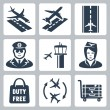 Vector airport icons set: landing, takeoff, runway, pilot, airfield control tower, stewardess, shopping bag 'duty free', transfer, luggage cart — Stock Vector