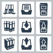 Vector isolated archive icons set — Stock Vector