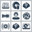 Stock Vector: Vector isolated dj and music icons set