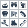 Stock Vector: Vector musical istruments: drums and keyboards