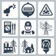Постер, плакат: Vector power industry icons set: bared wire supply meter danger sign multimeter electrician power line power plant power supply plug and receptacle