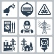 Stock Vector: Vector power industry icons set: bared wire, supply meter, danger sign, multimeter, electrician, power line, power plant, power supply, plug and receptacle