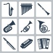 Vector musical instruments: pipes, harmonica and accordion — Stock Vector