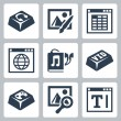 Vector isolated applications icons set: audio player, image editor, spreadsheet application, internet browser, audiobook, video player, games, image browser, text editor — Stock Vector