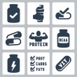 Vector isolated sport supplements icons set — Stock Vector #37237435