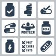 Vector isolated sport supplements icons set — Stock Vector