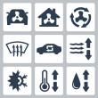 Vector air conditioning icons set — Stock Vector