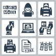 Stock Vector: Vector criminal activity icons set: blackmail, hacking, counterfeiting, cardsharping, piracy, passport forgery, skimming, forgery of documents, money laundering
