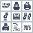 Vector criminal activity icons set: blackmail, hacking, counterfeiting, cardsharping, piracy, passport forgery, skimming, forgery of documents, money laundering — Stock Vector #37237503