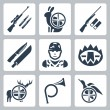 Vector hunting icons set: sniper rifle, hare, shotgun, hunting knife and sheath, hunter, trap, deer, hunting horn, duck — Stock Vector