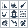 Vector detective icons set: munder street lamp, magnifier and handprint, knife in hand, smoking pipe, detective, crime scene, magnifier and fingerprint, revolver, magnifier and footprints — Stock Vector #37237531