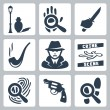 Stock Vector: Vector detective icons set: munder street lamp, magnifier and handprint, knife in hand, smoking pipe, detective, crime scene, magnifier and fingerprint, revolver, magnifier and footprints