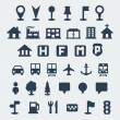 Vector isolated map icons set — Stock Vector
