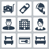 Vector hotel icons set: luggage cart, 'do not disturb' sign, dish, receptionist, five-star hotel, chambermaid, single bed, key card, double bed — Stock Vector