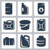 Vector cans and barrels icons set — Stock Vector