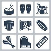 Vector musical istruments: drums and keyboards — Stock Vector