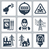 Vector power industry icons set: bared wire, supply meter, danger sign, multimeter, electrician, power line, power plant, power supply, plug and receptacle — Stock Vector