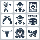 Vector isolated western icons set: windmill, sheriff, wanted poster, revolvers, bandit, saloon, longhorn skull, indian chief, prairie schooner — Stock Vector