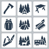 Vector camping icons set: axe, campfire, camping table, backpack, tent, matches, folding knife, deer, camping trailer — Stock Vector