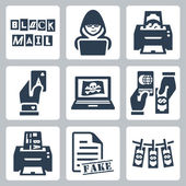 Vector criminal activity icons set: blackmail, hacking, counterfeiting, cardsharping, piracy, passport forgery, skimming, forgery of documents, money laundering — Stock Vector