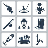 Vector fishing icons set: fish on a hook, float, big fish, fishing rod, fisherman, wading boots, spoon-bait, lake, worm on a hook — Stock Vector