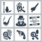 Vector detective icons set: man under street lamp, magnifier and handprint, knife in hand, smoking pipe, detective, crime scene, magnifier and fingerprint, revolver, magnifier and footprints — Stock Vector
