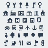 Jeu d'icônes de carte vecteur isolé — Vecteur