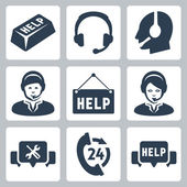Vector support, call center icons set — Stock Vector