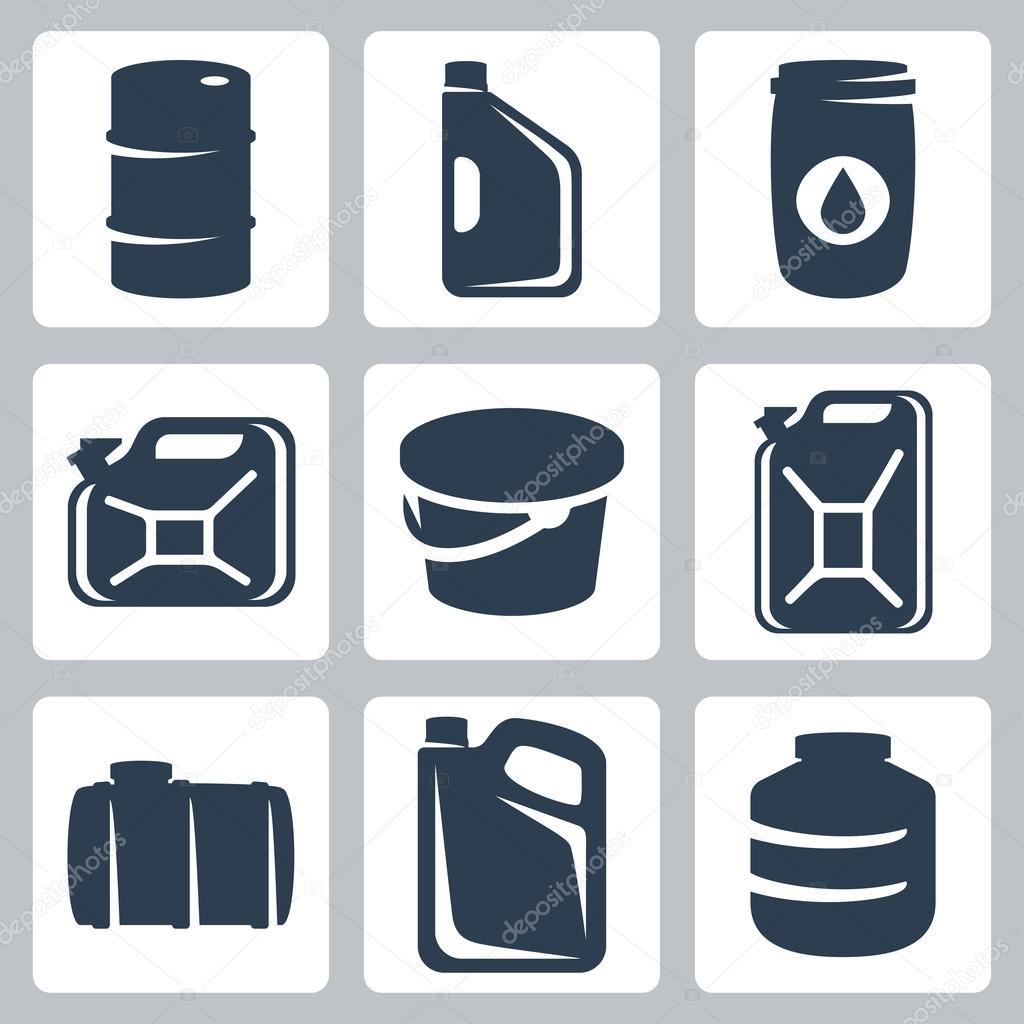 矢量罐和桶图标集 - 图库插图