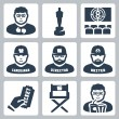 Stock Vector: Vector cinemand filmmaking icons set: critic, award, movie theater, cameraman, director, script writer, ticket, director chair, moviegoer