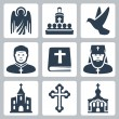 Stock Vector: Vector Christian religion icons set
