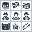 Stock Vector: Vector pirates, piracy icons set