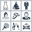 Vector isolated wedding icons set — Stock Vector