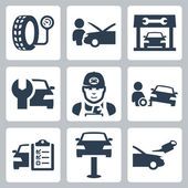 Vector vehicle service station icons set — Stock Vector