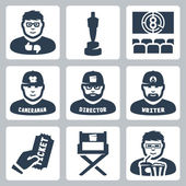 Vector cinema and filmmaking icons set: critic, award, movie theater, cameraman, director, script writer, ticket, director chair, moviegoer — Stock Vector
