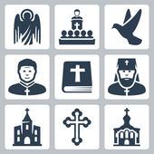Vector Christian religion icons set — Stock Vector