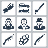 Vector isolated mafia icons set — ストックベクタ
