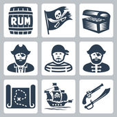 Vector pirates, piracy icons set — Stock Vector