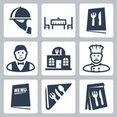Vector isolated restaurant icons set — Stock Vector