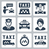 Vector isolated taxi icons set — Stock Vector