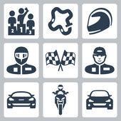 Vector race icons: podium, track, helmet, racer in helmet, racing flag, racer in cap, racing car, motorcycle, rally car — Stock Vector
