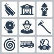 Vector fire station icons set: extinguisher, fire house, hydrant, alarm, fireman, axe, hose, fire truck, gas mask — Stock Vector
