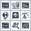 Stock Vector: Vector school subjects icons set: algebra, ICT, geometry, geography, ecology, astronomy, physics, biology, chemistry